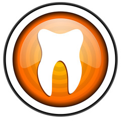 tooth orange glossy icon isolated on white background