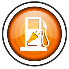 fuel orange glossy icon isolated on white background