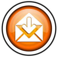 mail orange glossy icon isolated on white background