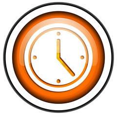 clock orange glossy icon isolated on white background