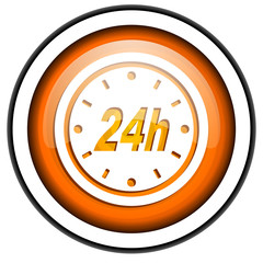 24h orange glossy icon isolated on white background