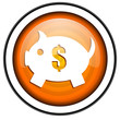 piggy bank orange glossy icon isolated on white background