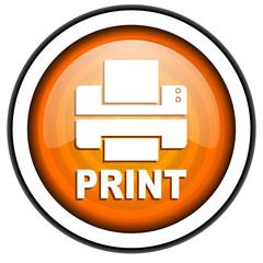 print orange glossy icon isolated on white background