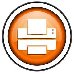 printer orange glossy icon isolated on white background