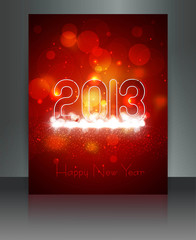 2013 new year celebration brochure card red colorful vector