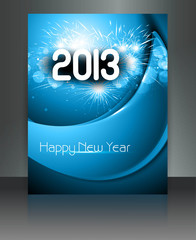 2013 new year celebration blue wave colorful brochure card vecto