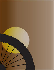 I Love Bicycle in Silhouette of Black-white on Brown Background