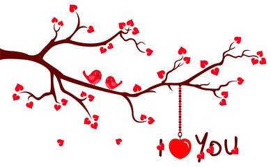 Tree branch with Love Hearts