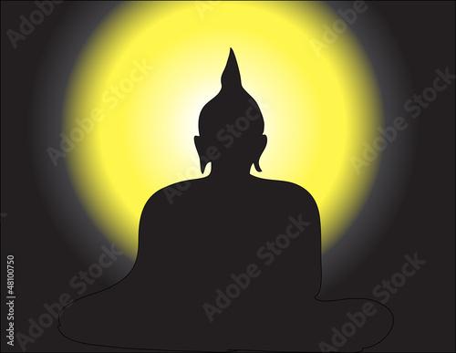 Meditation on Bhuddha Image in Silhouette Tone