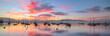 Leinwandbild Motiv Sunrise and Sailboats