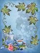 Niebieskie tło z liśćmi, imbrykiem i filiżanką