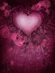 Różowe tło z gotyckim sercem