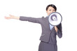 Business woman with megaphone yelling and showing