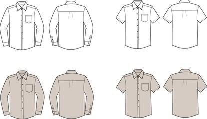 Vector illustration of men's business shirts
