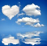 Heart from clouds on blue sky poster