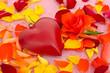 Herz, Rose und Blütenblätter