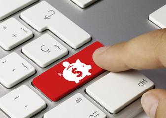 Savings money keyboard key. Finger