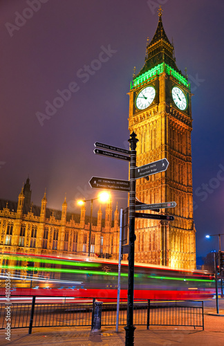 The Big Ben at night, London, UK.
