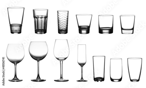collection of cup glasses isolated on a white background