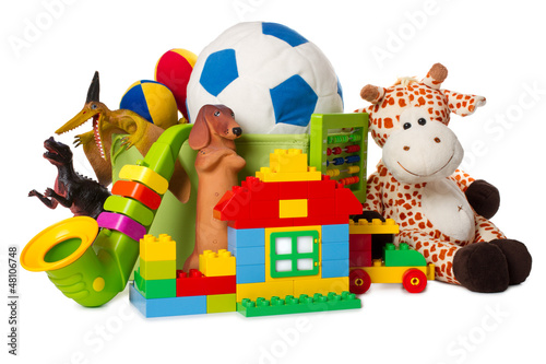Leinwandbild Motiv children toys isolated on white