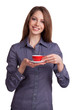 Woman drinking coffee from a red cup