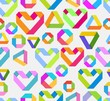 Seamless bright background with paper heart and geometrical figu