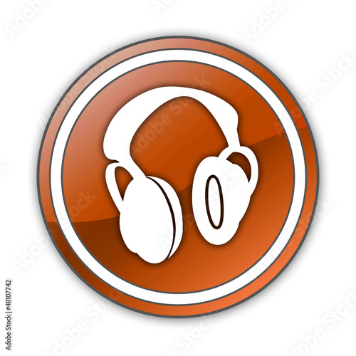 "Orange Glossy Button ""Headphones"""