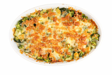 baked cheese with broccoli isolated on white