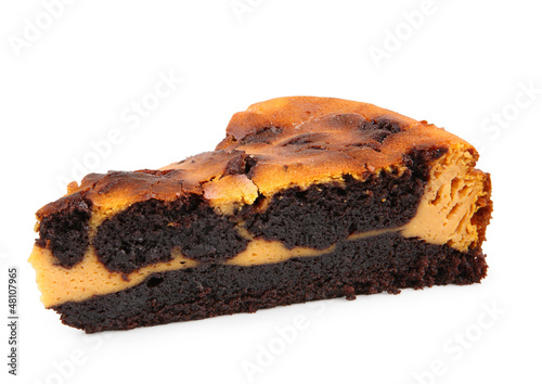 chocolate and pumpking brownie isolated on white