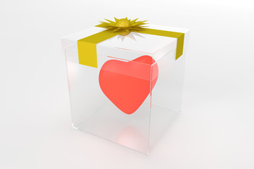 transparent gift box with red heart inside and gold ribbon