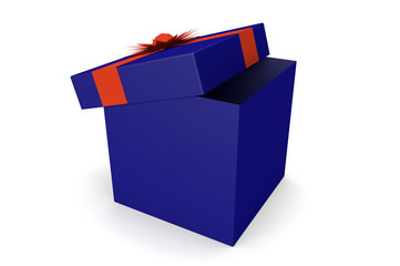 A blue opened gift with a red ribbon and a bow on white backgrou