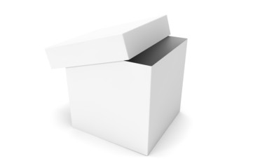White blank open box on a white background
