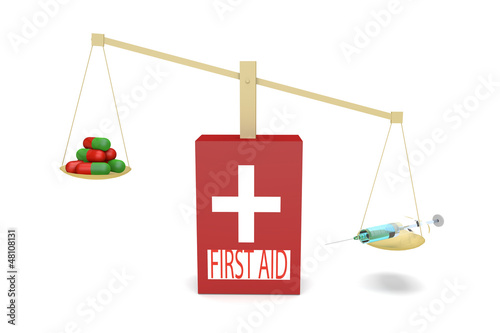 First aid kit with balances where syringe outweighs tablets\pill