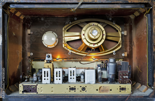 inside of old vintage radio