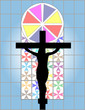 Jesus Christ Cross on The Colorful Cristal Wall in Temple
