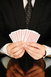 ssman with playing cards, businBusineess risk concept