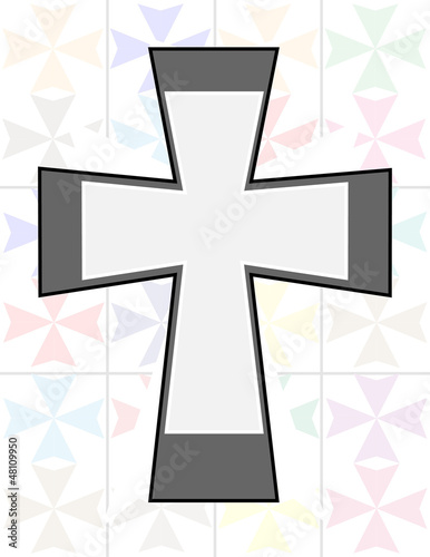 Jesus Cross in Two Tone Color on The Transparency Cristal Wall