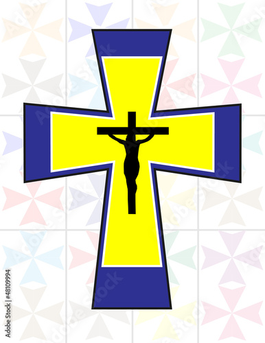 Multicolor Cross with Black Jesus Cross on The Transoarency Colo