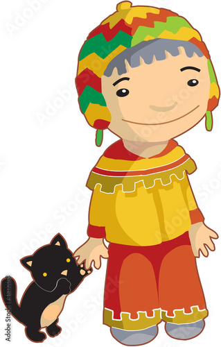 Papiers peints Indiens Local ethnic boy with cat