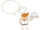 cute cartoon chef talking in bubble