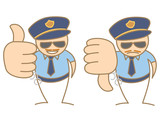 police man thumbs up - down saying like and dislike