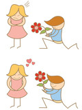 cartoon of couple proposing