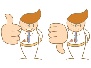 doctor thumbs up down saying like and dislike