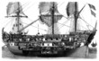 Sailing Ship - 3 Mats - 19th century - Plan en coupe