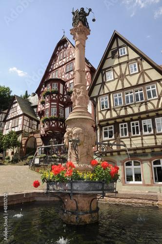 Leinwanddruck Bild Brunnen am Schnatterloch in Miltenberg