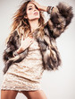 Portrait of attractive stylish woman in fur