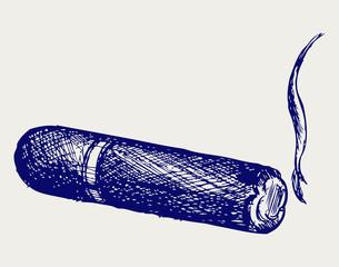Havana cigar burned. Doodle style