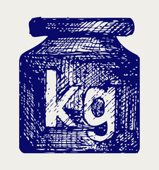 Weight kilogram. Doodle style