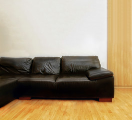 Black leather couch