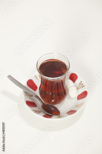 glass of Turkish tea isolated on white